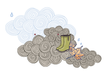 Illustration - rain cloud and wellies