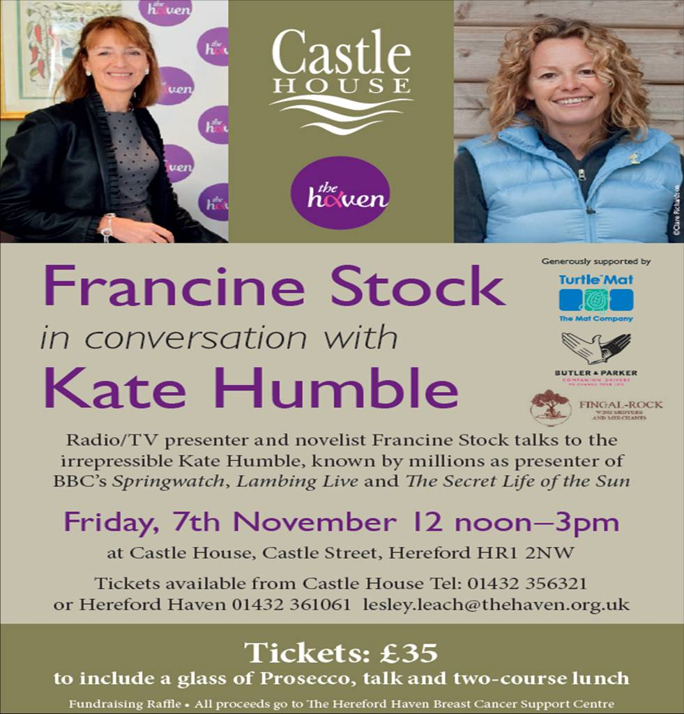 Francine Stock and Kate Humble in conversation