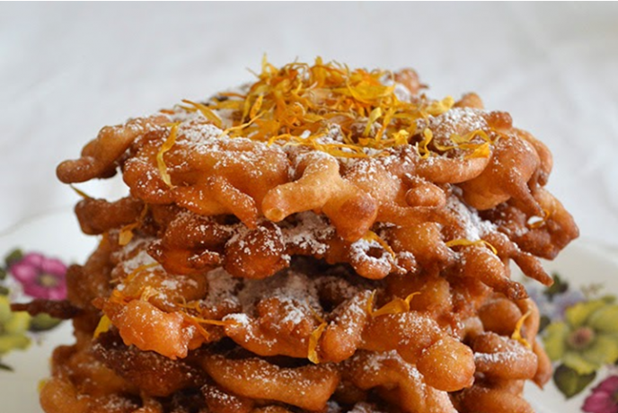 Calendula and honey funnel cake