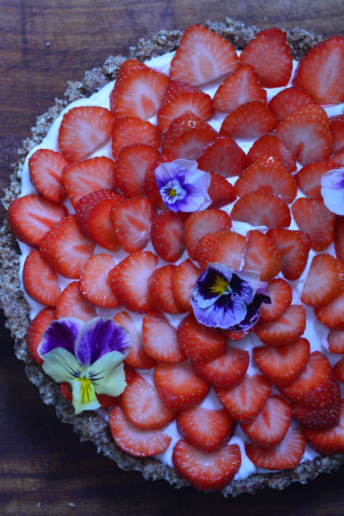Strawberry and coconut tart