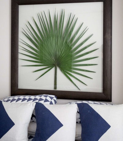 framed large palm leaf with blue and white cushions