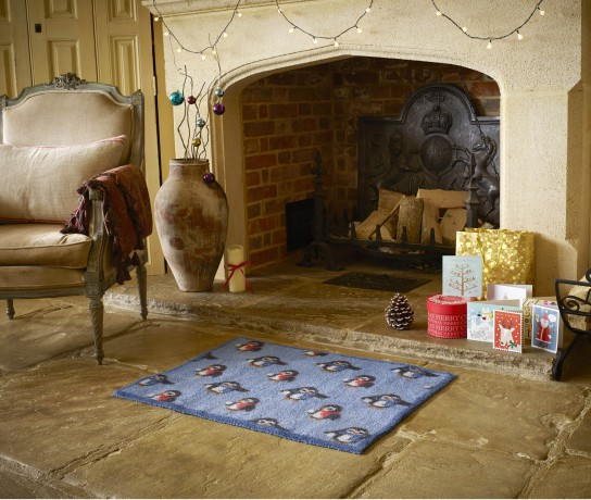 Blue Penguin Turtle Mat in front of fireplace