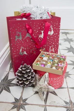 Red Christmas bag and Christmas decorations