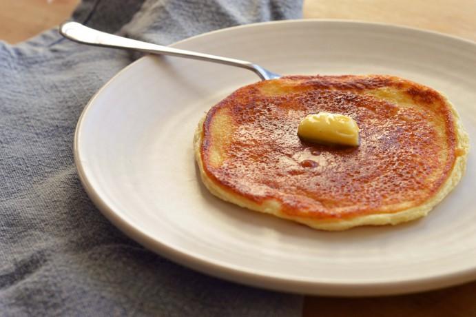 Butter melting on fluffy scotch pancakes