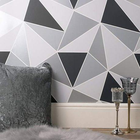 Dunelm Geo Silver Wallpaper