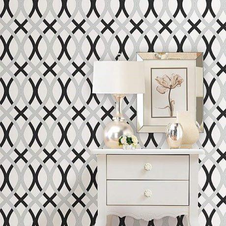 Dunelm monochrome lattice wallpaper